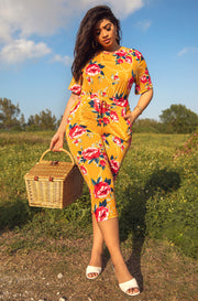 Mustard Floral Zipper Back Jumper Plus Sizes