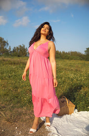 Bubblegum Pink Maxi Dress with Tie Straps Plus Sizes