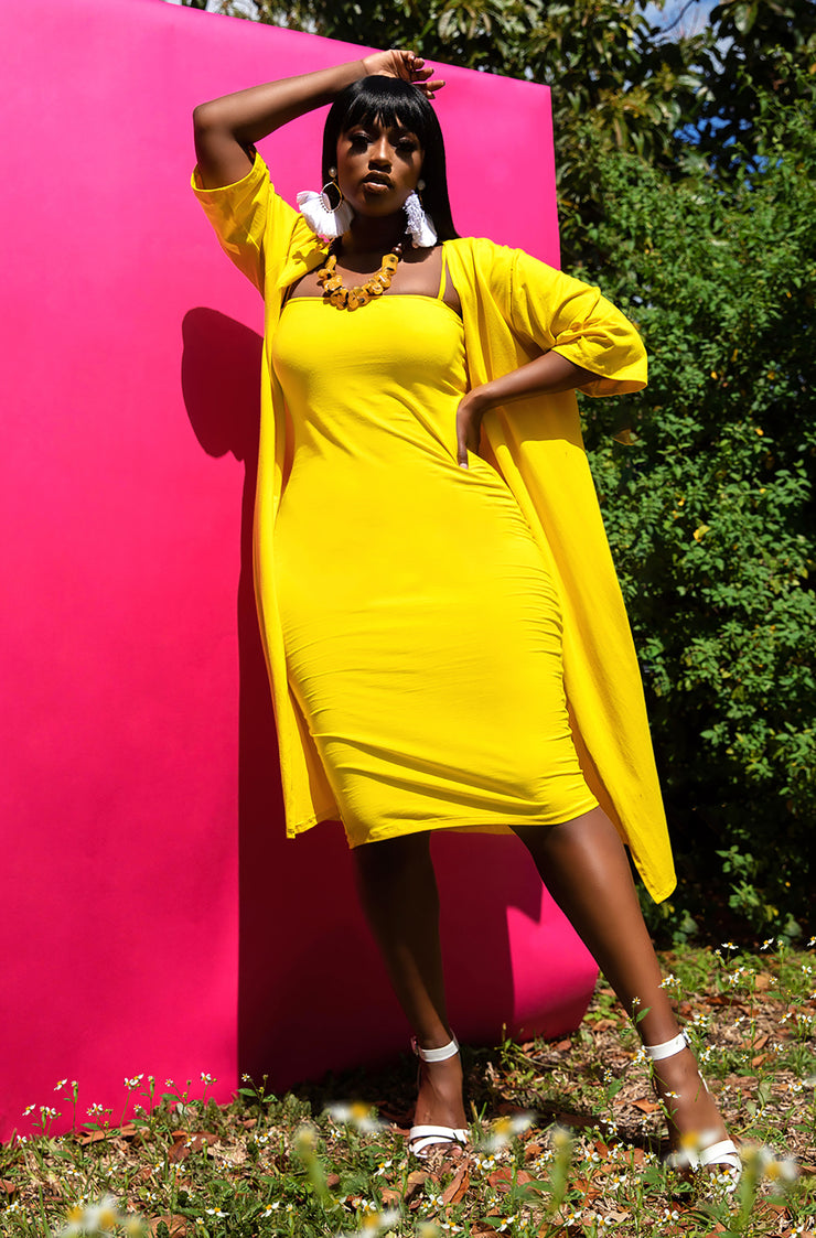 Yellow Sleeve Duster Plus Sizes