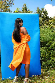 Orange Short Sleeve Duster Plus Sizes