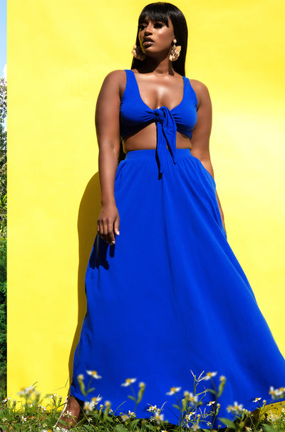 Royal Blue Crop Top & Skater Maxi Skirt Set Plus Sizes