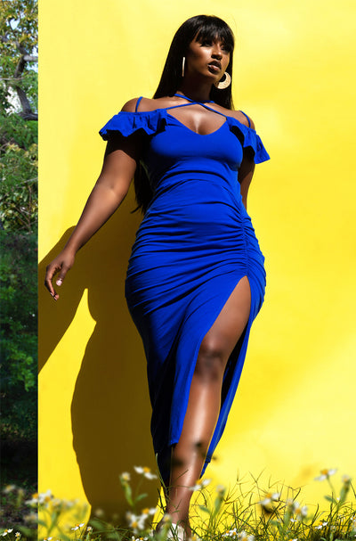Royal Blue  Ruched Bodycon Midi Dress Plus Sizes