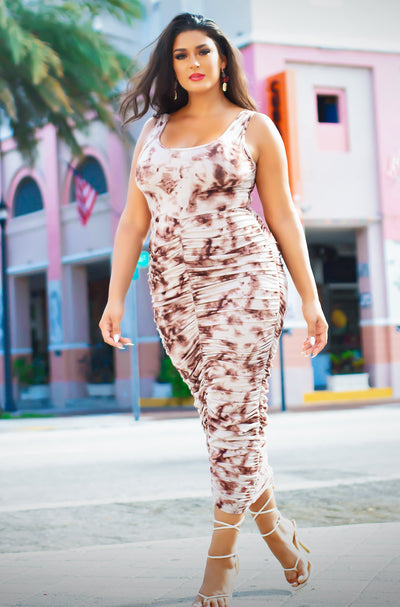 Brown Ruched Bodycon Maxi Dress Plus Size
