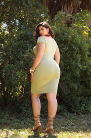 Pistachio Over the Shoulder Bodycon Midi Dress Plus Sizes