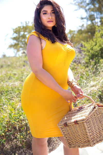 Mustard Sweetheart Bodycon Midi Dress Plus Sizes