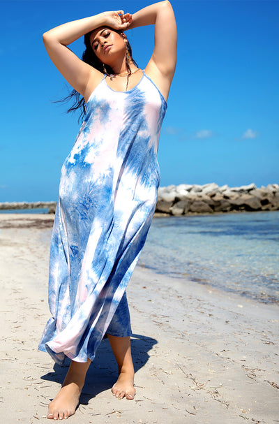 Blue Oversized Strappy Tie Dye Maxi Dress Plus Sizes