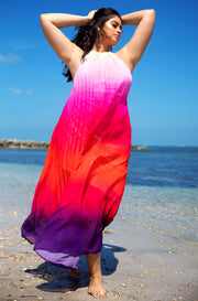 Hot Pink Ombre High Neck Maxi Dress Plus Sizes