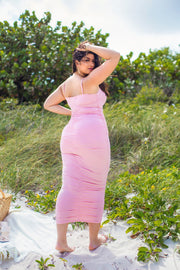 Bubblegum Pink Ruched Bodycon Maxi Dress Plus Sizes