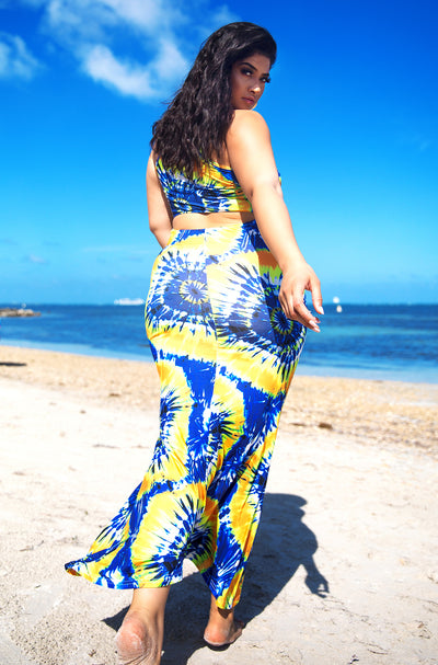 Blue Tie Dye Mermaid Maxi Dress Plus Sizes