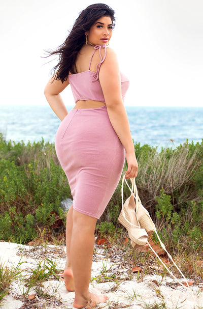 Blush Pink Ribbed Bodycon Midi Dress Plus Sizes