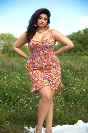 Red Ruched Floral Mini Dress Plus Sizes
