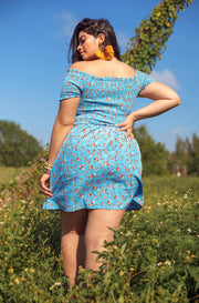 Sky Blue Smocked Over The Shoulder Mini Dress Plus Sizes