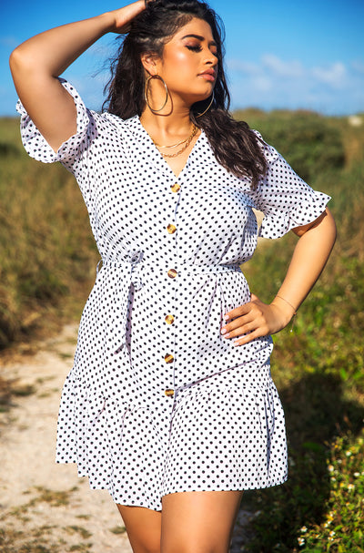 White Polka Dot A-Line Mini Dress Plus Sizes