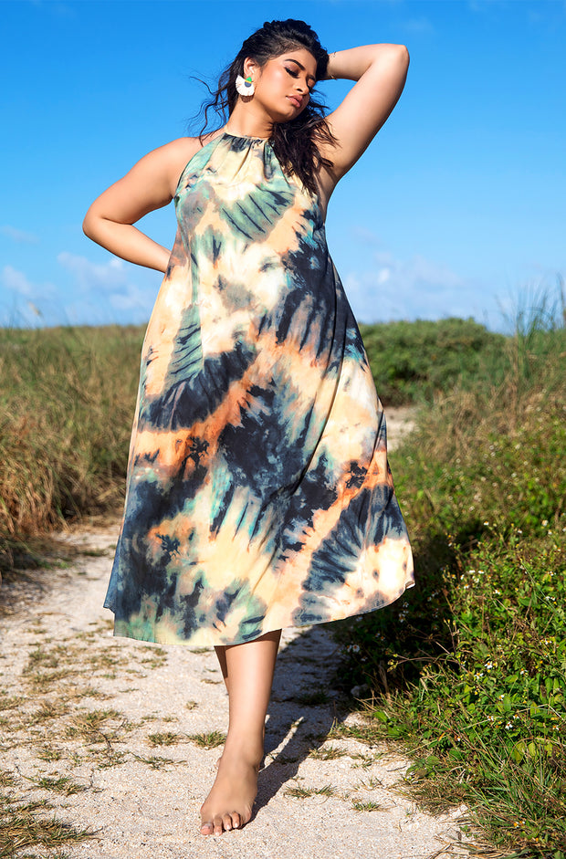 Brown Tie Dye Halter Maxi Dress Plus Sizes