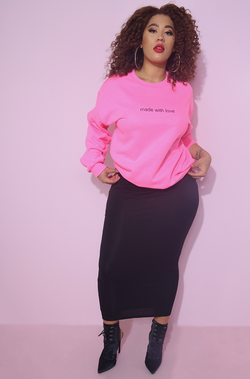 hot pink made with love sweatshirt street style plus sizes