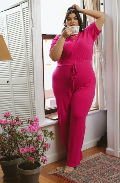 Fuchsia Wide Leg Lounge Jumpsuit Plus Sizes