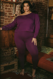 Purple Over The Shoulder Top & Leggings Set Plus Sizes