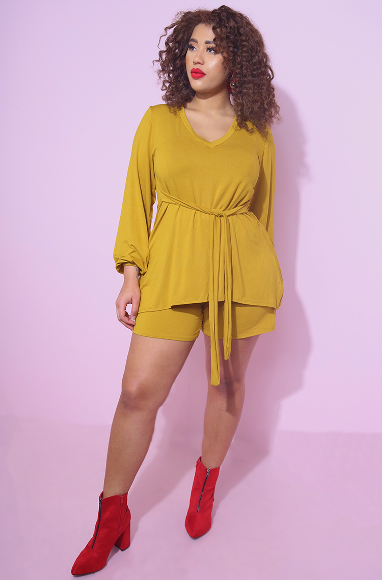 Mustard V-Neck Long Sleeve Top with matching shorts Plus sizes