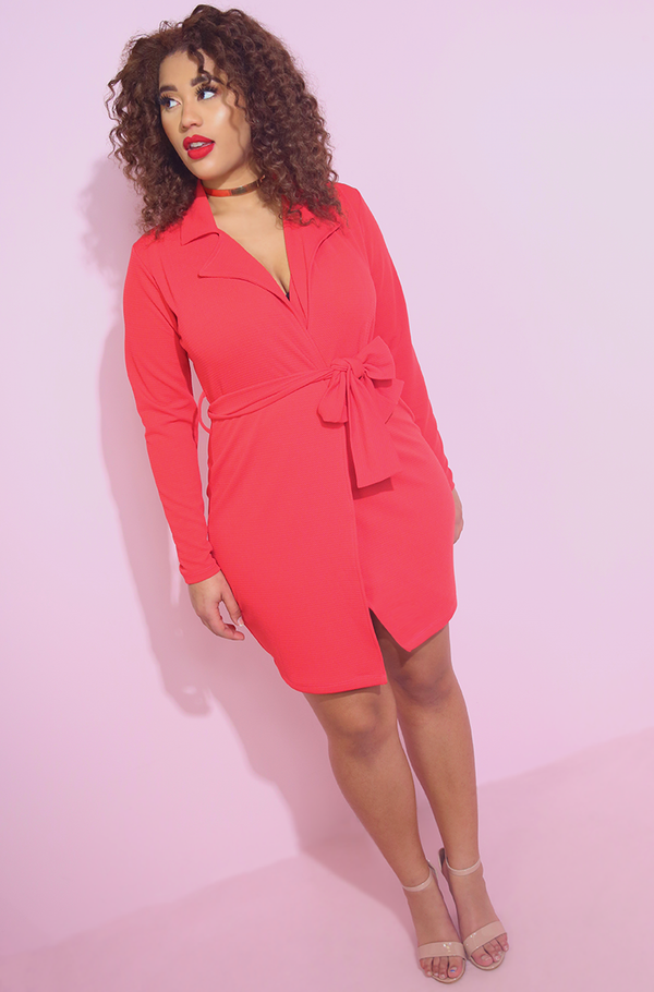 Coral Pink Blazer Bodycon Mini Dress Plus Sizes