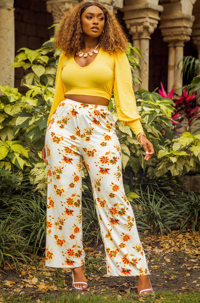 White Floral Wide Leg Pants Plus Sizes