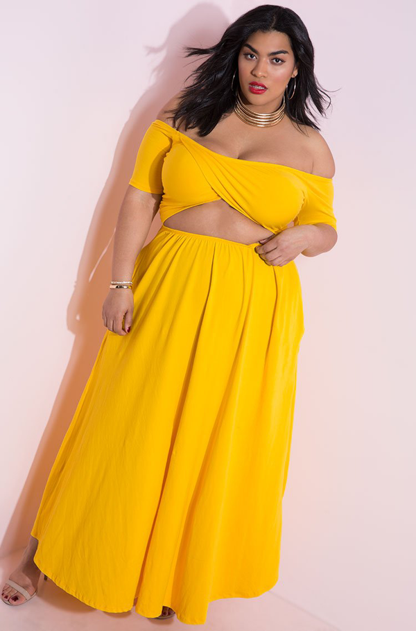 Golden Yellow Cut-Out Maxi Dress With Pockets plus sizes