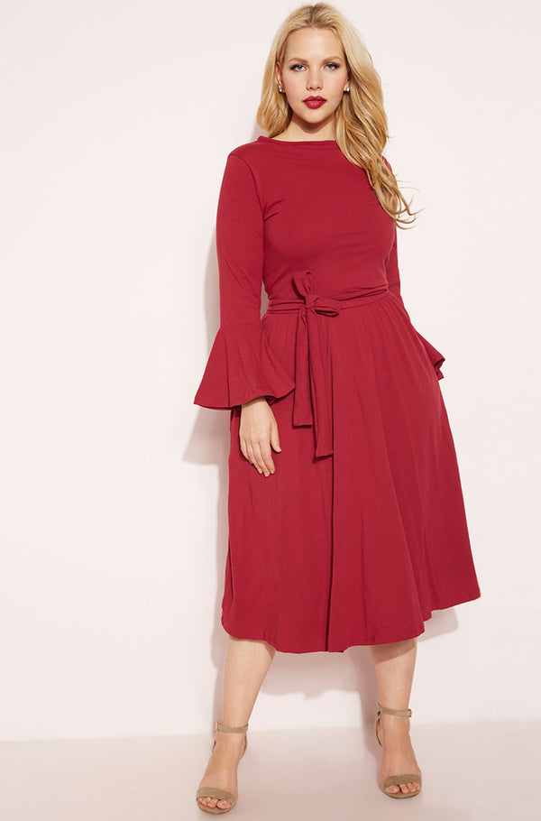 Burgundy Bell Sleeve Skater Midi Dress plus sizes