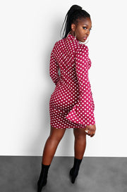 Burgundy Polka Dot Flare Sleeve Bodycon Mini Dress Plus Sizes