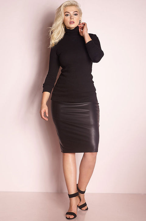 Black Turtleneck Top Plus Sizes