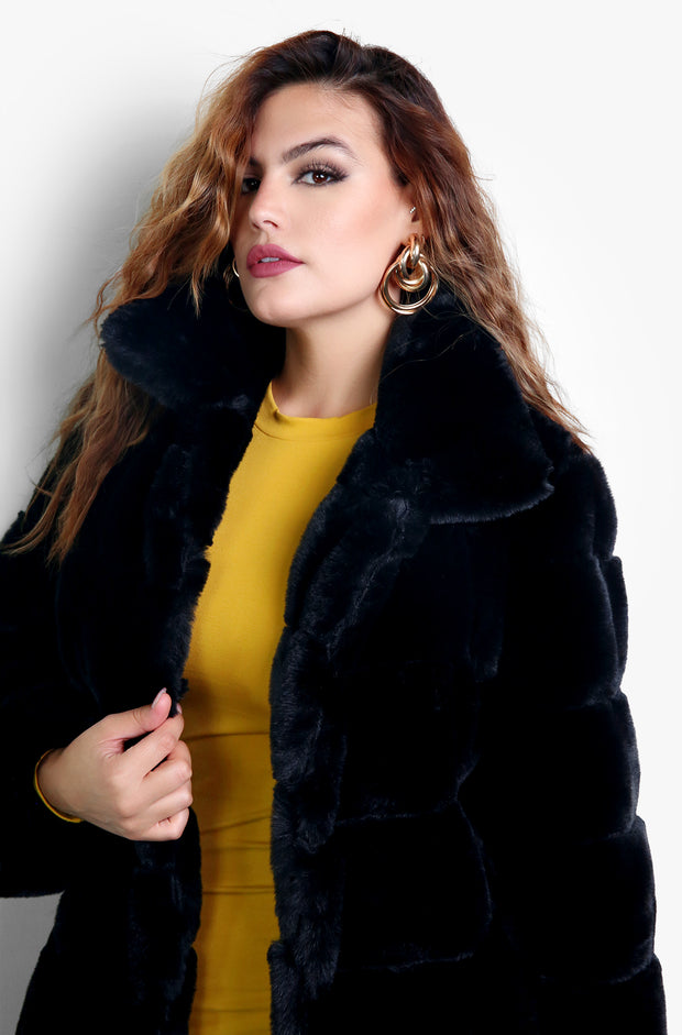 Black Oversized Puff Faux Fur Coat Plus Sizes