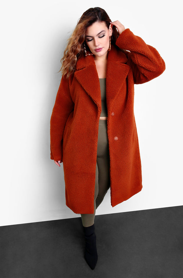 Brown Full Length Teddy Coat Plus Sizes