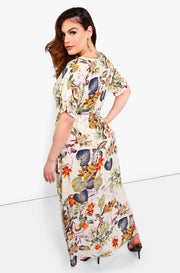 beige floral Wrap Maxi Dress plus sizes