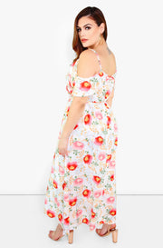 Pink Over The Shoulder Floral Maxi Dress Plus Sizes