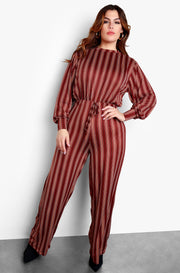 Brown Plus Size Crewneck Striped Jumpsuit