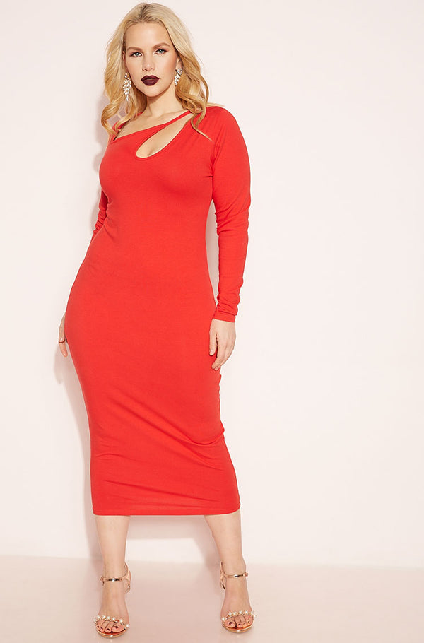 Red Long Sleeve Bodycon Midi Dress plus sizes