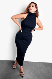 Black Turtleneck Sleeveless Bodycon Maxi Dress Plus Sizes