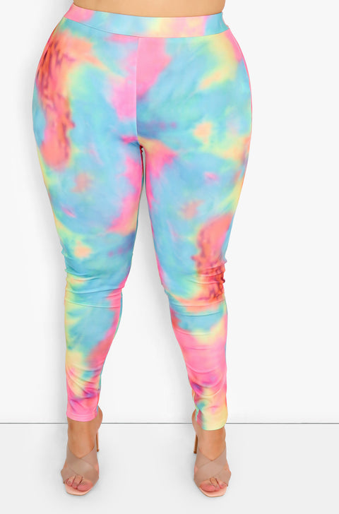 Neon Tie Dye Leggings Plus Sizes