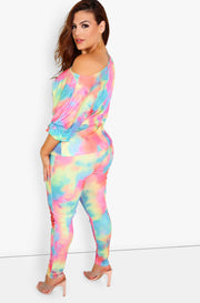 Neon Tie Dye Over The Shoulder Top Plus Sizes
