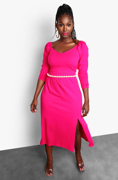 Fuchsia Peasant Puff Sleeve Midi Dress Plus Sizes