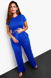 Royal Blue Palazzo Pants w. Pockets Plus Size