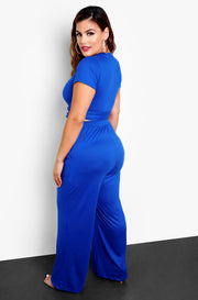 Royal Blue Front Tie Crew Neck Crop Top Plus Size