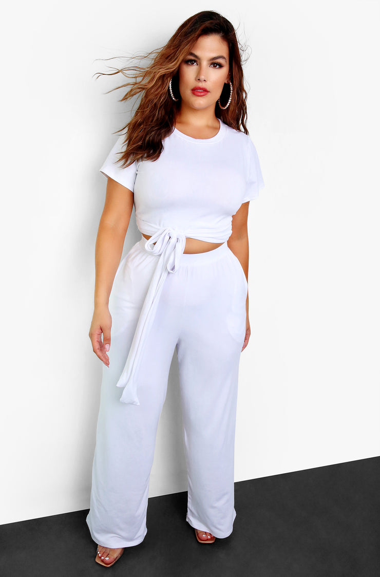 White Palazzo Pants w. Pockets Plus Size