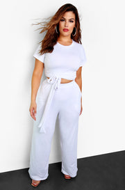 White Front Tie Crew Neck Crop Top Plus Size