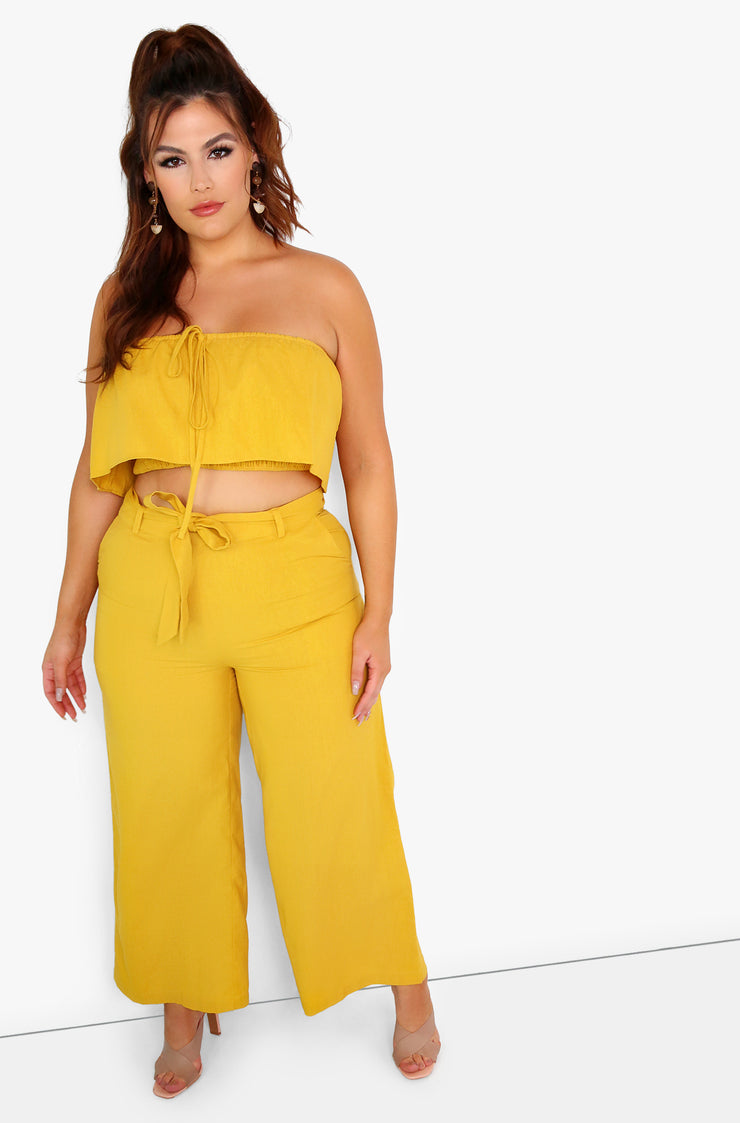 Mustard Cropped Wide Leg Pants with Belt Plus Sizes
