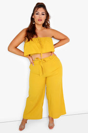 Mustard Smocked Ruffle Tube Top Plus Sizes