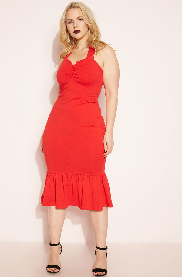 Red Sweetheart Peplum Hem Bodycon Midi Dress plus sizes