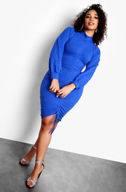 "Rebdolls ""Must Have"" Turtleneck Long Sleeve Ruched Mini Dress - Royal Blue"