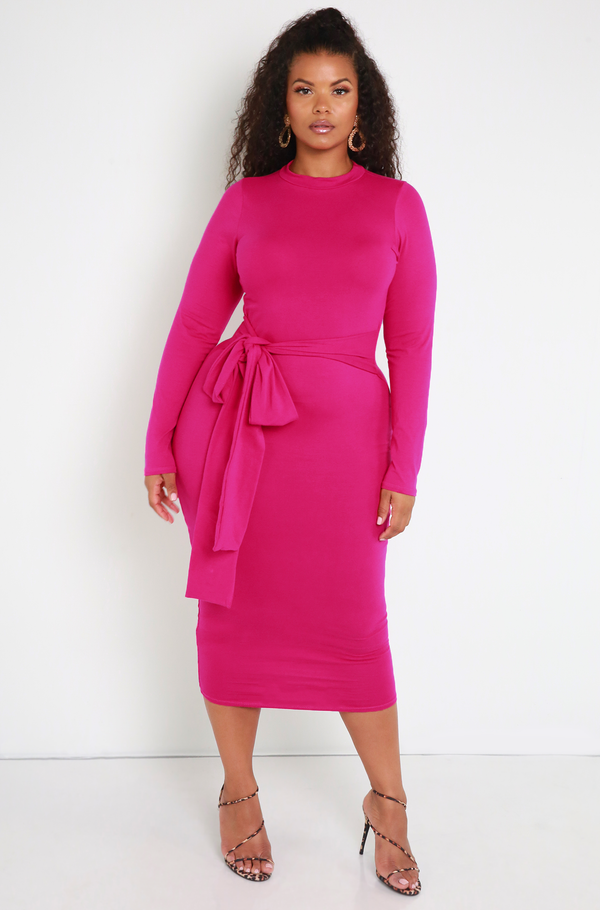 Fuchsia Waist Tie Bodycon Midi Dress Plus Sizes