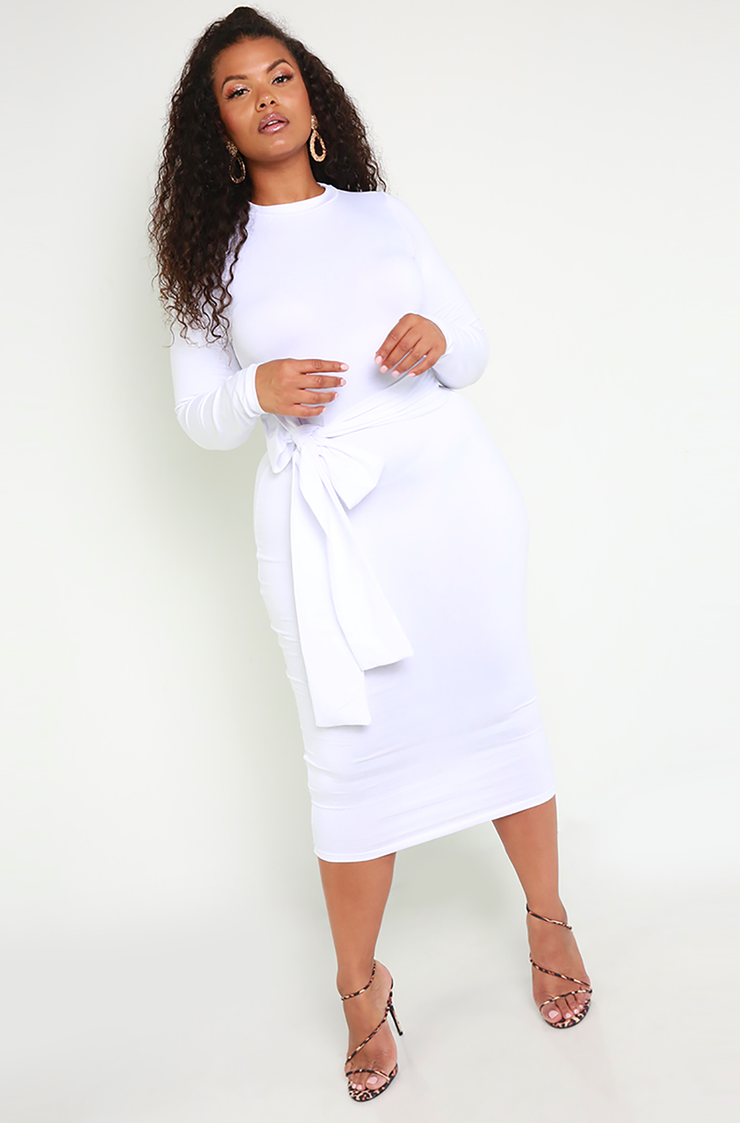 White Waist Tie Bodycon Midi Dress Plus Sizes