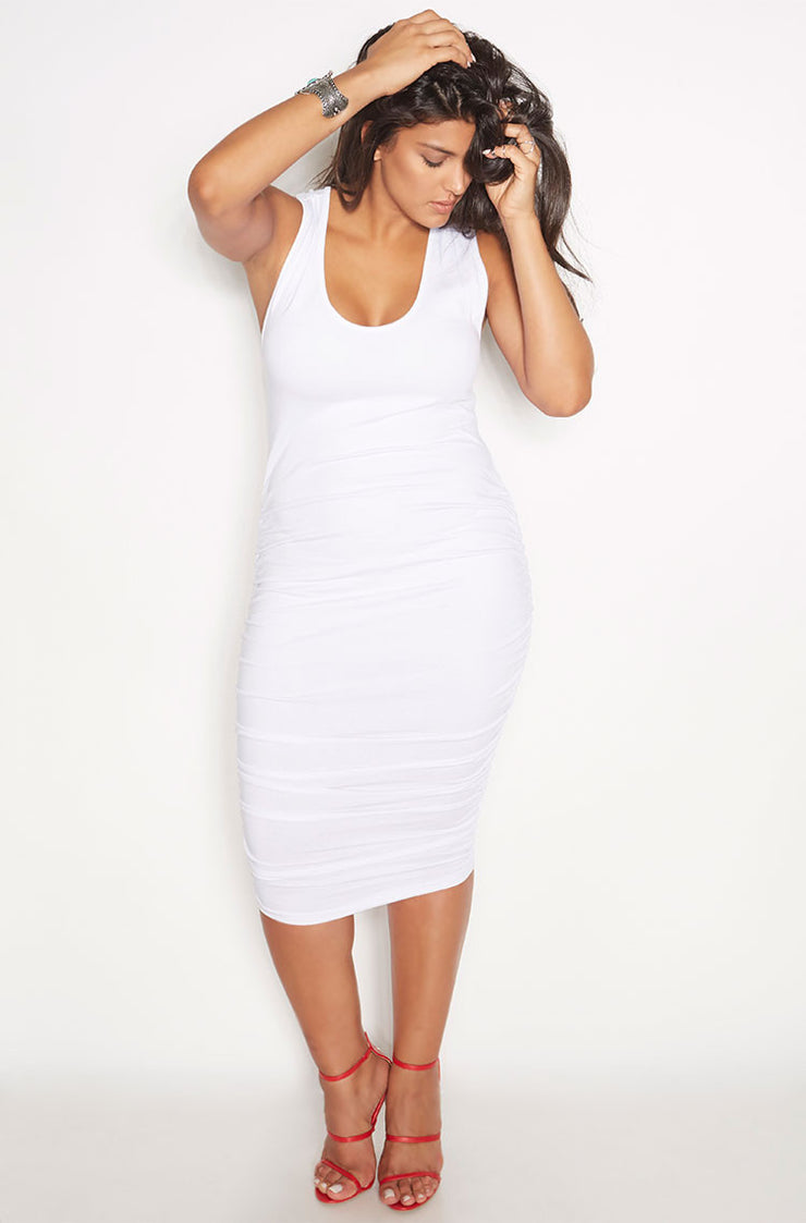 White Ruched Racerback Midi Dress plus sizes