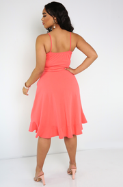 Coral Caged Skater Midi Dress With Pockets